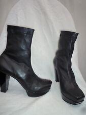 CLERGERIE Boots en cuir noir elasthan 38 (6,5) talons vernis