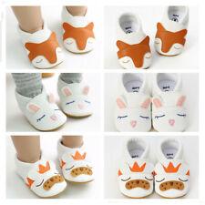 Newborn Baby Boy Girl Crib Shoes Slip on Trainers Animal Pattern Fox Rabbit Lion