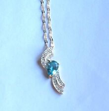 ".925 Sterling Silver w/Platinum, Pear Blue TOPAZ/Diamond Pendant w18"" Chain, New"