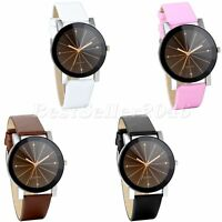 Men Women Round Dial Black Brown Pink White Leather Strap Sport Wrist Watch Gift