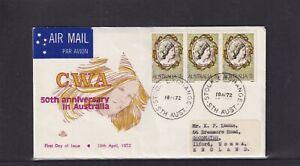 Australia 1972, Royal 50th Anniversary of C.W.A. FDC (magenta & yellow design)
