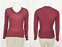Womens DAKS Virgin Wool Knit Sweater Jumper V-Neck Burgundy Size S