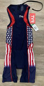 TYR Men's Medium Red White Blue Triathlon Tri Suit Short John Back Zip USA New