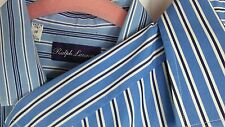 Lot of 2 Purple Label Ralph Lauren Shirts15 Medium 100% Cotton Bold Stripes 😎😀