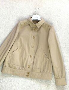 RARE Women's A.P.C. APC Bomber Harrington Coat Jacket Beige SZ L Cotton Trench