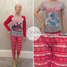 Primark Ladies Christmas Coca Cola Pyjamas Pajama Pieces Lounge Pants UK 10/12