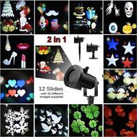 Outdoor 12 Slide LED Laser Projector Landscape Light Garden Christmas Party Lamp