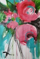 "JOSE TRUJILLO - PINK ROSES Large 30X40"" Drawing Painting ORIGINAL Abstract DECOR"