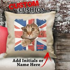 Personalised Cat Union Jack Flag Vintage Cushion Custom Canvas Cover Gift NC058