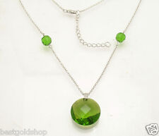 Adjustable Genuine Diamond Peridot Pendant Necklace Chain Real Sterling Silver