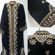 VINTAGE BLACK VELVET DRESS ROBE COAT WITH GOLD EMBROIDERY STEAMPUNK GOTH 14 16