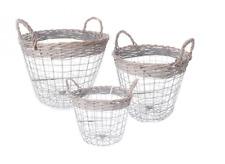 Set Of 3 Shabby Chic Wire Round Baskets With Handles Retro Vintage Home Storage