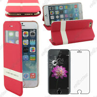 "Housse Coque Etui S-View Flip Cover Rouge Apple iPhone 6S Plus 5,5"" Verre"