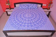 Indian Hippie Queen Size Bed Sheets With Pillow Covers Mandala Cotton Tapestry
