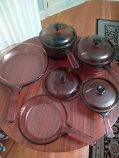 9 Pc Visions Visionware Corning Ware Amber Glass Cookware - Saucepans, Skillet
