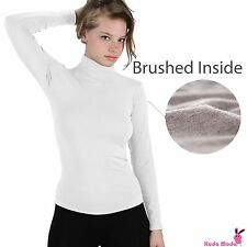 Winter Warm Brushed Fleece Long Sleeve Stretch Turtleneck Mock Neck Top Shirt