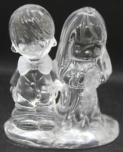 Precious Moments Bride & Groom Lord Bless You & Keep You Crystal Figurine 634077