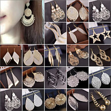 Women Vintage Boho Multi Style Silver/Gold Tassel Dangle Hook Ear Stud Earrings