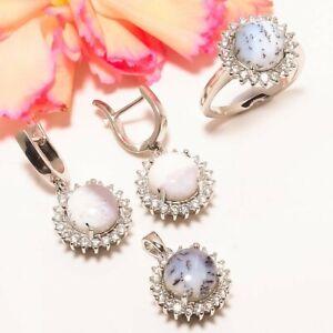 Brazilian Dendritic Opal Silver Handmade Earring & Pendant & Ring Set (39)