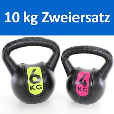KUGELHANTEL Set 10 kg BASIC Kettlebell 6 kg + 4 kg Kunststoff coat ~yx 12 2122+