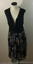 C4 Lane Bryant Watercolor Floral Dress! Size 20! NWT! Tank Wrap Midi Colorful