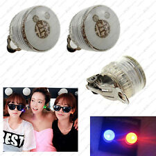 1Pair LED Flashing clip on Light Earring Accessories Blinking Ear Stud Disco LOT