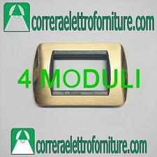 Placca CAL per BTICINO LIVING OTTONE LUCIDO + OTTONE SATINATO 4 MODULI  CL645/4