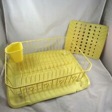 Dish Drainer Drying Rack Rubber Coated Wire Sink Protector Drain Board Yellow