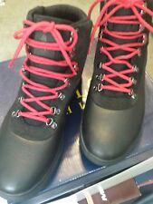 """POLO RALPH LAUREN MEN'S Boots Sz. 9.5D """"ALPINE 100"""" Leather Black/Red Laces NEW"""