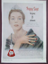 BEAUTY PEGGY SAGE NAIL VARNISH  VINTAGE ADVERT FROM QUEEN MAGAZINE 1953