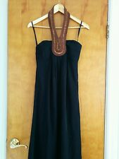 Ted Baker Black Maxi Dress halter necklace beaded collar NWT US 2 (Ted 0) $445