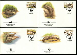 GAMBIA - 1984 WWF 'NILE CROCODILE' Set of 4 First Day Cover [B6244]