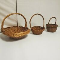VTG WICKER RATTAN MARKET BASKET W/ HANDLE FARMHOUSE FLOWERS LOT OF 3 COLLECTIBLE