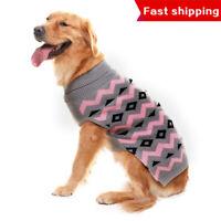 Grey Warm Dog Winter Clothes Stylish Lozenge Pattern Knit Jacket For Medium Dog