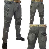 Mens Biker jeans, Peviani rip jeans distressed premium rider denim hip hop urban