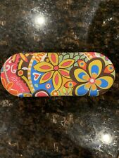 New BRIGHTON FLORAL FLOWERS COLORFUL Hard Clamshell METAL SUNGLASSES CASE