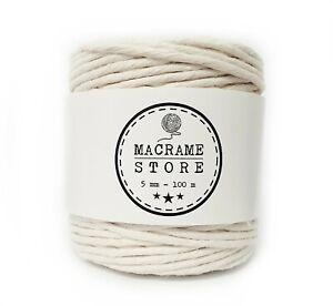 Makramee Garn 5mm 100M Baumwollkordel Baumwollgarn Natur Macrame Weiß