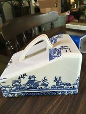 ANTIQUE UNMARKED  DELFT  BUTTER DISH BLUE & LID