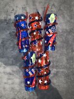 Lot of 5 Stars USA Red, White, Blue FLASHING DRINKING CUP WITH STRAW12oz ea