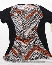 DIVINE DOLL Womens Blouse Multi Color Animal Print Top 2X NEW NWT