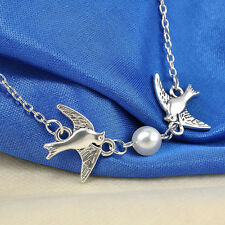 Celebrity Lady Silver 2-Flying-Birds Swallow Simple Pearl Pendant Chain Necklace