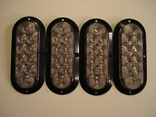 (4) Clear/Red 10 LED Oval Trailer Truck Stop Turn Tail Light Surface Mnt J66-FRC