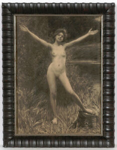 """Hermann Moest (1868-1945) """"Water nymph"""", drawing, late 1890s"""