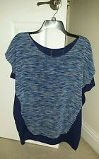 NEW NYDJ NOT YOUR DAUGHTER'S JEANS Blue Rain Striped Top Blouse SIZE SMALL $88