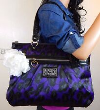NEARLY NEW Coach Poppy Daisy Ocelot Glam Tote Purple/ Black Shoulder Bag F20048