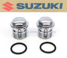New Genuine Suzuki Chrome Top Fork Cap Bolt Set 72-77 RE5 GT550 GT750 OEM #G37