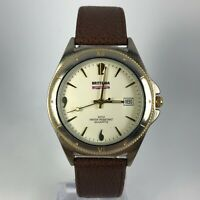 Brittania Mens Beige Dial Brown Leather band Date Indicator Analog Watch