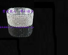 Silver Tone Crystal Clear Diamonte / Diamante 7 Row Stretchy Bracelet - NEW!!