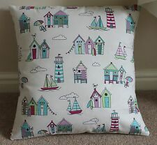 """BEACH HUTS, BOATS, LIGHT HOUSES CUSHION COVER PINK 16 X 16"""" 100% COTTON"""