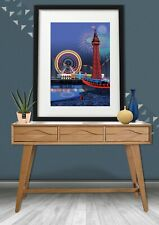Blackpool Pleasure Beach, UK holiday Travel Poster, Perfect Gift Of Blackpool